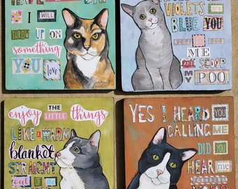 ORIGINAL CAT PAINTINGS on wood using mixed media