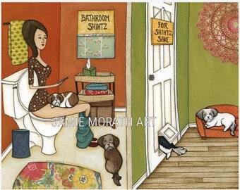 Bathroom Shihtz, Shih Tzu funny bathroom dog art print also available in wood ornament, Shih Tzu on toilet art print