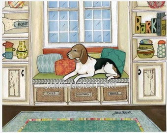 The Beagles Bed, beagle laying in bay window with shelving, dog art print, available in wood Ornament