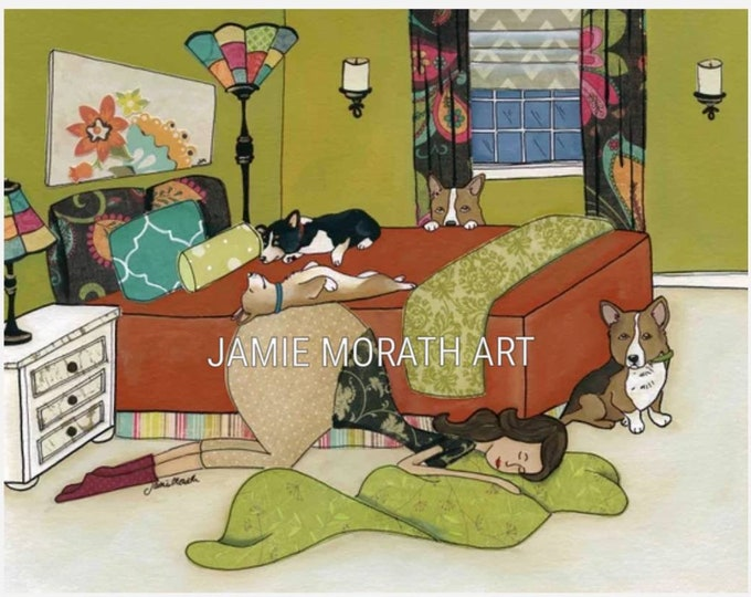 Corgi Love, Corgi dogs on a bed with lady sleeping on floor art print, also available in ornament