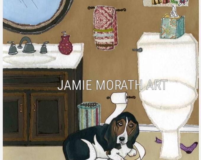 Daisy Mae, basset hound bathroom dog art print, available in an ornament