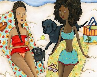 The Beach~  2 women on the beach with a black pug and black labrador retriever