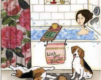 Wash Your Beagles, dog art print
