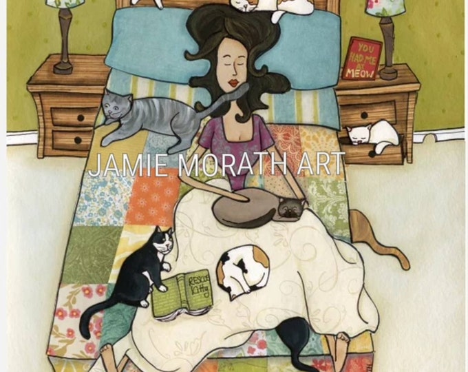Rescue Kitties, crazy cat lady who rescues cats sleeping on square pattern quilt reading book, cat sleeping in dresser, ornament cats