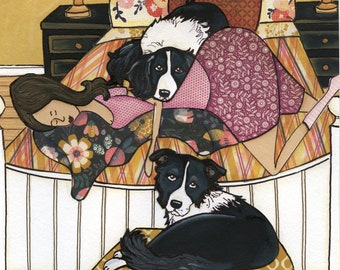 Sleeping Border, border collie dog art print, plaid comforter duvet, floral throw, lady on bed with black white collie, Christmas ornament