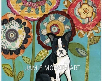 Boston Terrier, dog print with mixed media flower background