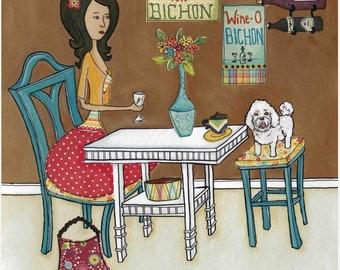 Bichon Bistro, bichon frise dog art print