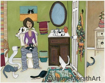 Purdy Peez, lady sitting on toilet with bathroom full of cats getting into things, crazy cat lady gifts