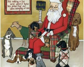 Naughty or Nice, Santa dogs, Christmas hat, ugly sweater, plaid chair, jingle bells, pug, Santa's cookies, ornaments
