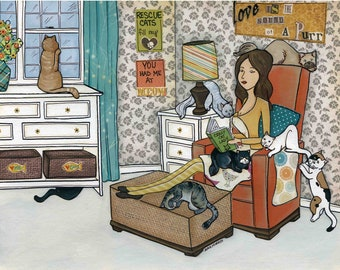 Love Purr, Armchair book reading with cats, Mom surrounded by her cats