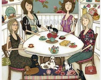 Dachshund and Friends Rescue, doxie, sausage dog, wiener dog kitchen art print