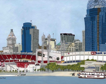 Cincinnati, Ohio prints, reds baseball stadium, perfect gift for man cave, Cincinnati skyline, great American ball park