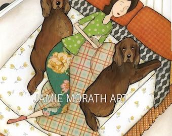 Sleeping Setter, Irish Setter dog sleeps in bed hogging bed, modern tulip pattern, plaid bedding, floral yoga pants, dog art prints