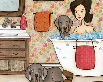 Weimaraner Bath, dog art print with lady in bubble bath with weimaraner and one dog on floor, floral wallpaper background in bathroom