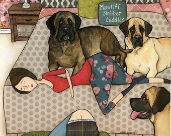Mastiff Slobber Cuddles, mom snuggling with her mastiffs in bed, three mastiffs