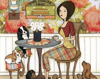 King of Cakes, king Charles Cavalier Spaniel dog in kitchen with lady, dog art print