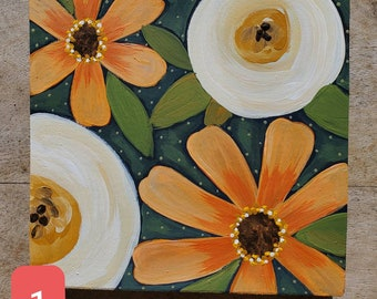 Flower Art on stained wood