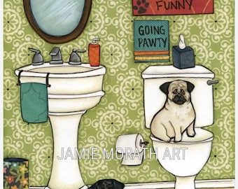 Puggy Farts, green pattern wallpaper, going pawty sign, funny pug art print, ornaments, daisy garbage can, bathroom home decor, pug picture