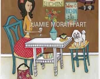 Bichon Bistro, bichon frise dog art print, kitchen dog decor, white fluffy dog, wine gift, kitchen wine art print