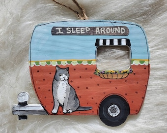 Grey Cat Camper Ornament