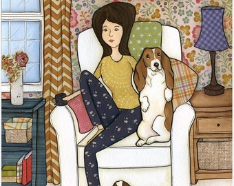 Move The Basset, Basset Hound dog art print
