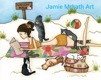 Pussycat Beach, cats on the beach with lady reading a book