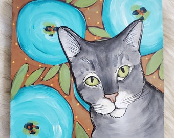 Gray Cat painting on reclaimed wood