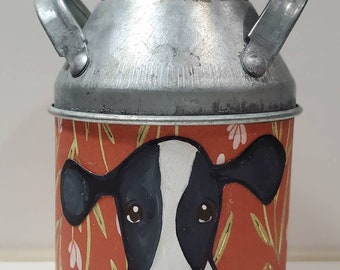 Orange Cow Metal Tin Can