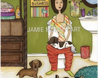 Weenie Business, no business like weenie business, long hair piebald on lady lap in bathroom on toilet, funny bath art print, ornaments