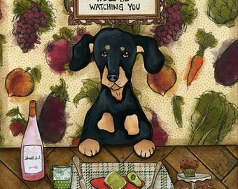 We'll Be Watching, dachshund dog art print