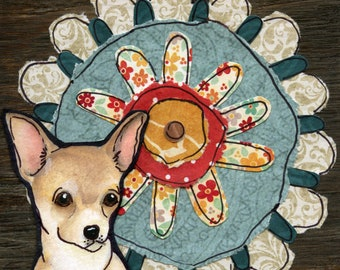 Flower Chihuahua, dog art print with portrait of chihuahua and a big mixed media flower on wood