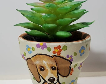 Doxie mini pot with artificial succulent