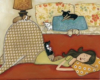 Being Little and Lazy, Chihuahua dog bed hogging with lady, funny bedroom art print available in wood ornament