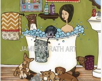 Foster Therapy, dog foster, animal rescue art print, bathroom, bathtub art print
