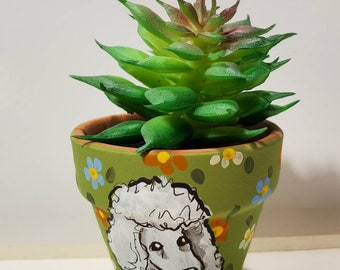 Poodle mini pot with artificial succulent