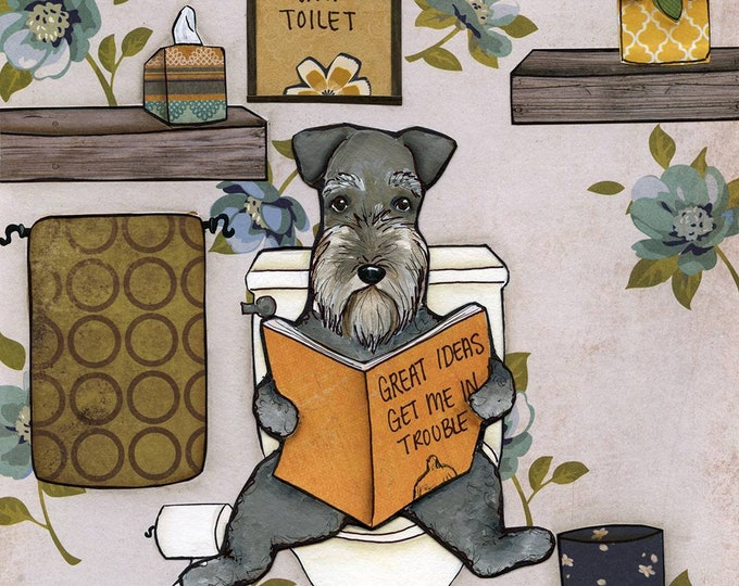 Great Ideas, come from sitting on the toilet, schnauzer sitting on toilet reading magazine in bathroom with blue floral wallpaper, dog pics