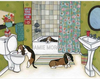 Wash Your Hounds, basset hound dog drinking out of toilet art print, painting, funny hound dog lovers gift, dog Christmas ornament