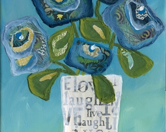 Live Love Laugh in a Vase, flower wall art print, mixed media