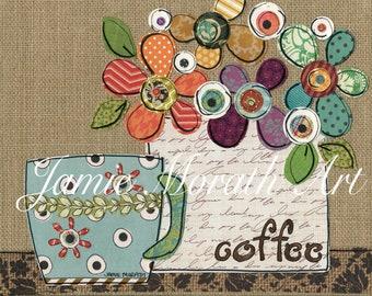Coffee Shower, mixed media flower on burlap