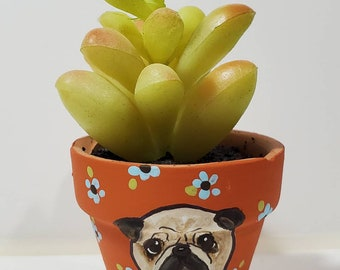 Pug Planter with artificial succulent