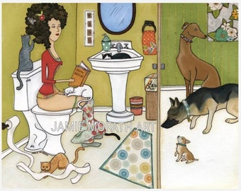 Potty Rescue, cat and dog rescue lovers funny bathroom art print, German shepherd, grey hound, chihuahua, cat toys lady hair, toilet paper