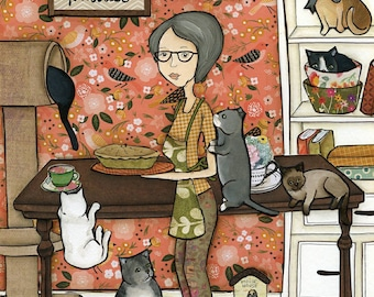 Grandma's Cookin, cat kitchen art
