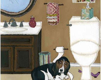 Daisy Mae, big Basset Hound dog art print