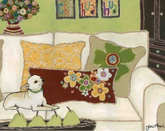 Chihuahua Love, chihuahua wood ornament, dog art print, pear centerpiece, flower pillow, floral vase