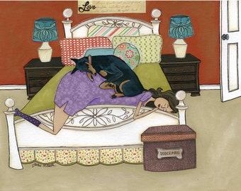 Doberman Love, Doberman laying on top of mom in bed, Bedtime art