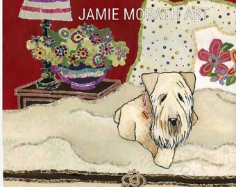 Sweet Wheatie, Wheaton terrier dog art print, dog christmas ornament , polka dot pillow, cream blanket, dog bed, purple vase huge flowers