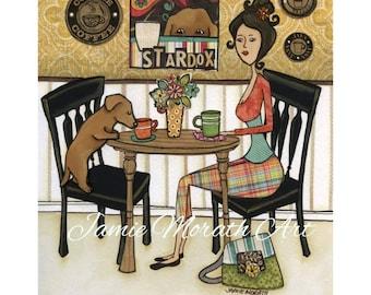Stardox, black chair, dog drinking coffee at table with lady, plaid pants, pattern handbag, red dachshund dog art print, ornaments