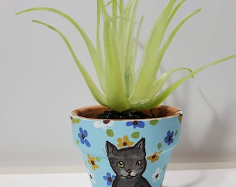 Grey tabby Cat mini pot with artificial succulent