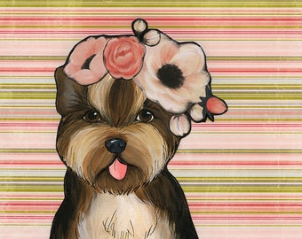 Flower Yorkie, dog art print