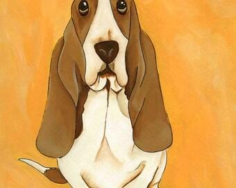 Hush Puppy Eyes, basset hound dog art print